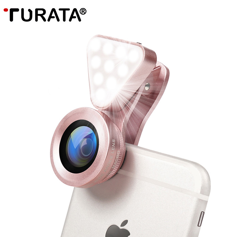 TURATA Luxury LED Selfie Flash Light Beauty Phone Lens Fill Light 0.4-0.6X Wide Angle+10X Macro Lens for Smartphone