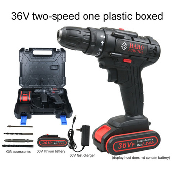 25V/36V Electric Drill Lithium Rechargeable Handheld 2-Speed Cordless Screwdriver with Led Light Power Tool