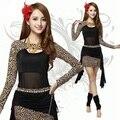 2015 Mulheres Leopard Tribal Calças Set Traje Indiano Dança Do Ventre Roupas de Dança Do Ventre Desgaste Desempenho Danza Del Vientre LD050