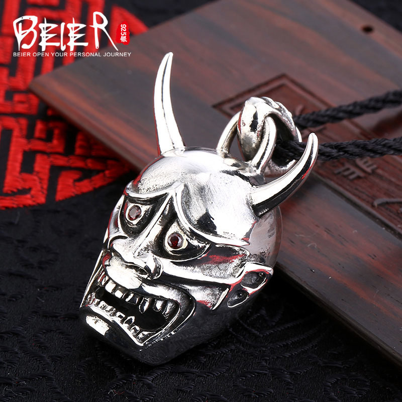 Punk man pendant Beier 925 silver sterling skull pendant necklace classic style Free give black rope A1414 punk style skull pendant choker necklace for women