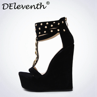 Phụ nữ giày dép Nền Tảng cao gót nêm dép roma Chuỗi siêu cao gót nêm nền tảng phụ nữ thời trang giày