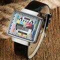 2017 Diseño Especial de Televisión TV Negro Reloj de Pulsera de Cuarzo Hombres Dial Reloj Casual Masculina Correa de Reloj de Cuero de Regalo de Navidad