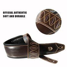 Solider Dark Brown Leather Double Padded guitar Strap high quality belt for guitar and bass