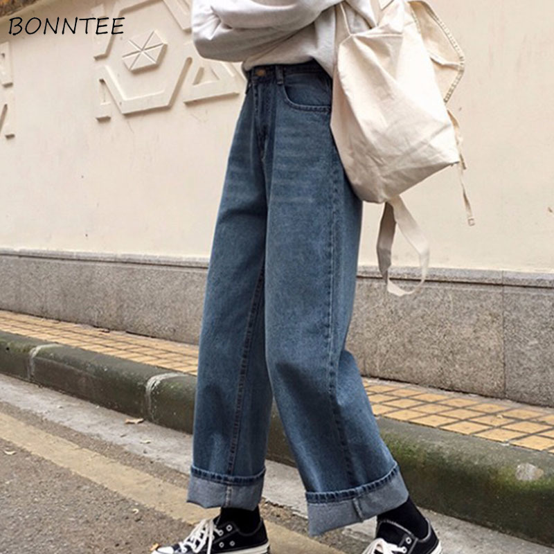 Jeans   Women Harajuku Boyfriend   Jean   for Womens Simple All-match Denim Loose Streetwear Straight Elegant Korean Style Leisure
