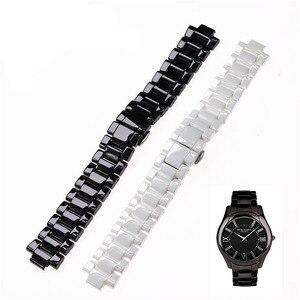 Image 3 - Aplicável para armani cerâmica relógio 20mm23mm preto branco brilhante pulseira cerâmica relógio modelo ar1424 ar1472 ar1421 ar1424 pulseiras de relógio