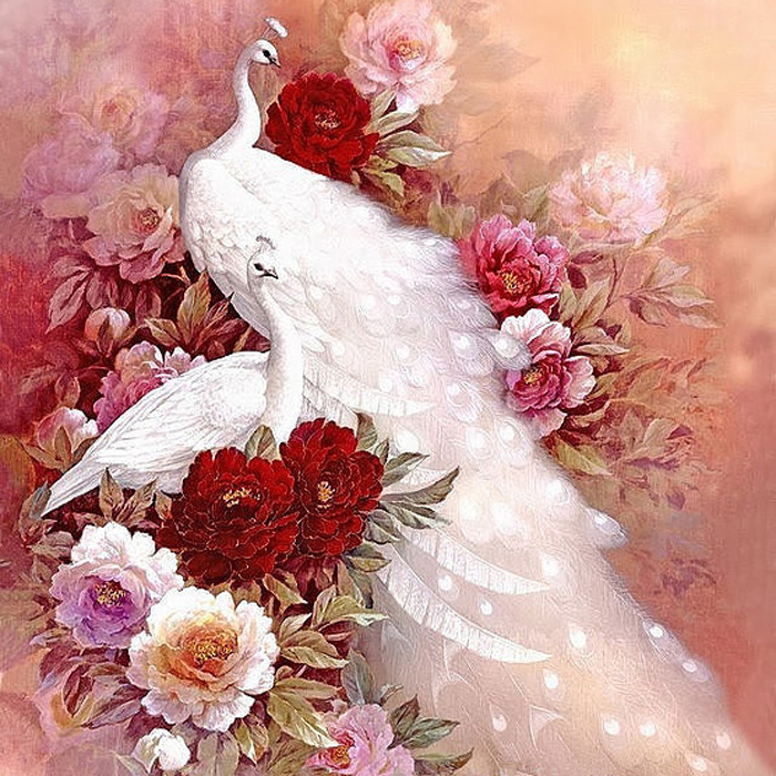 New Needlework,DMC Cross Stitch,Peony And Peacocks Animal 14CT Counted Embroidery Kits Art Cross-Stitching,DIY Handmade Decor