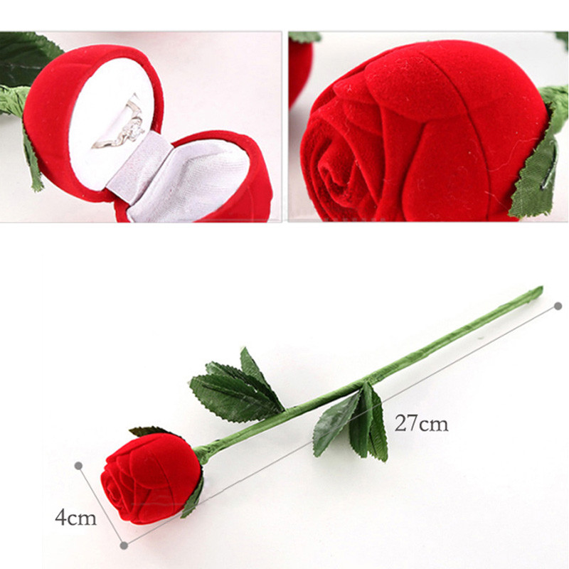 1 pcs Fashional Romantic Red Rose Engagement Wedding Ring Boxes Earrings Jewelry Gift Box