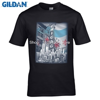 GILDAN Tops Summer Cool Funny Brand New T Shirts Chicago Flag Skyline T Shirt