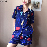 New Summer Women Sleep Pajamas Sets Turn Down Collar Geometric Funny Short Sleeve Top And Hot