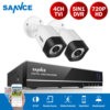SANNCE 720P 4CH CCTV Video Security System TVI HD 2pcs CCTV Camera Survelliance Kit IR Outdoor