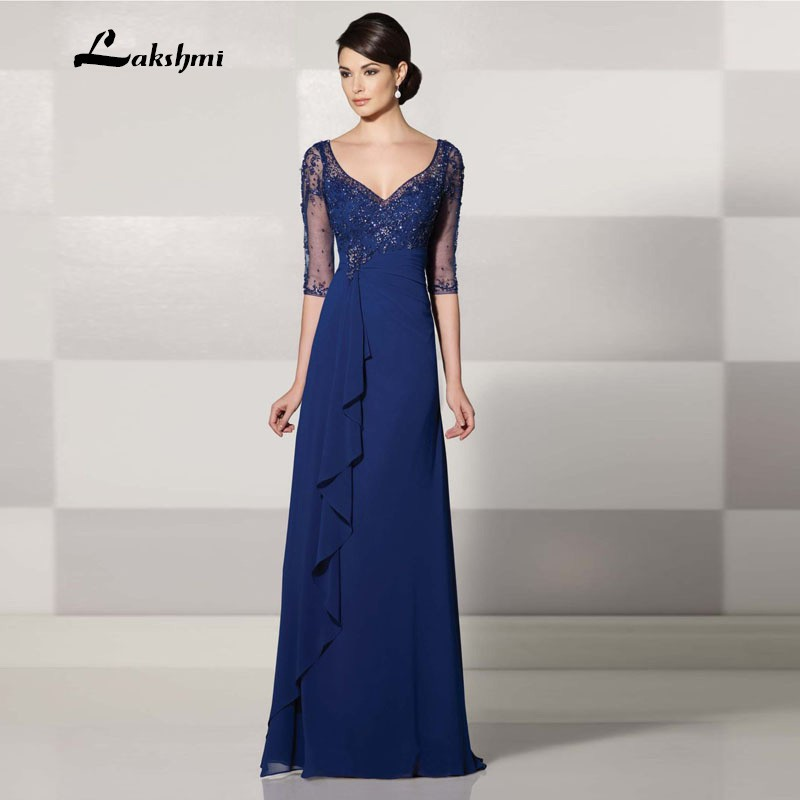Gorgeous Women A-line V-neck Half Sleeve Floor-length Chiffon Beaded ...