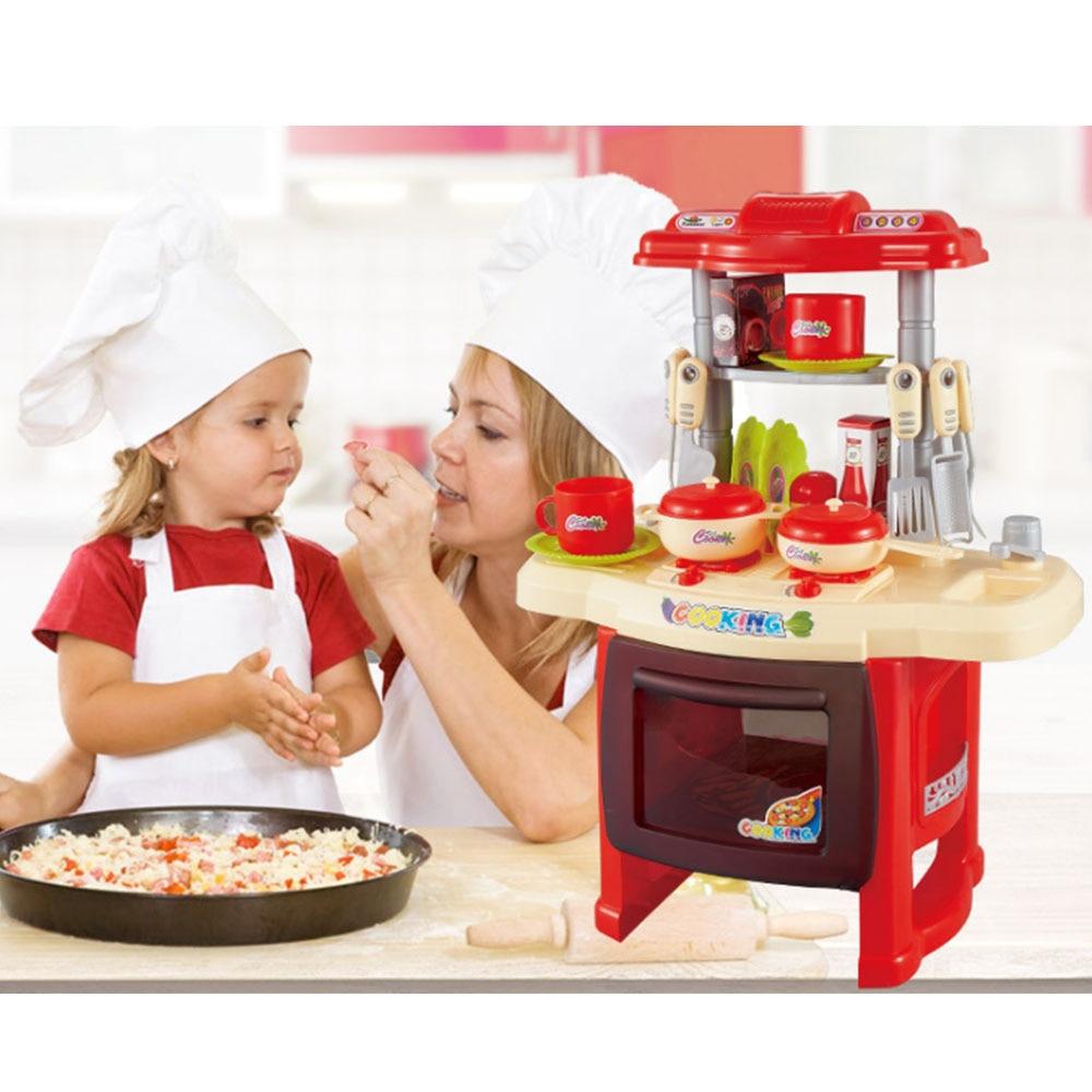 Kawaii Cuisine Cuisine Jouet Kit Bébé Mini Plastique Jouer à Faire Semblant enfants Cuisine Jouets Musique Lumières Enfants de Cuisine Cuisine jouet