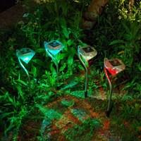4pcs 정원 장식 LED 태양 빛 램프 LED 다이아몬드 잔디 빛 야외 태양 전원 된 경로 스테이크 초 롱 램프 홈 장식