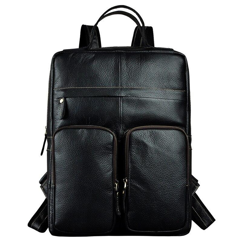 Vintage Genuine Leather Backpack Men s 15 Laptop Notebook Back Packs Men Casual Travel Double Shoulder