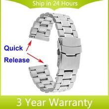 Venda de reloj de 22mm de liberación rápida para samsung galaxy gear 2 r380 neo r381 vivo r382 moto 360 2 46mm correa de acero inoxidable pulsera