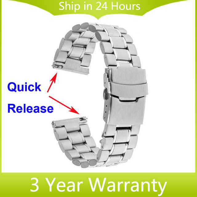 22mm Quick Release Watch Band for Samsung Galaxy Gear 2 R380 Neo R381 Live R382 Moto 360 2 46mm Stainless Steel Strap Bracelet