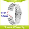 Faixa de relógio 22mm quick release para samsung galaxy gear 2 r380 neo r381 live r382 moto 360 2 46mm cinta de aço inoxidável pulseira