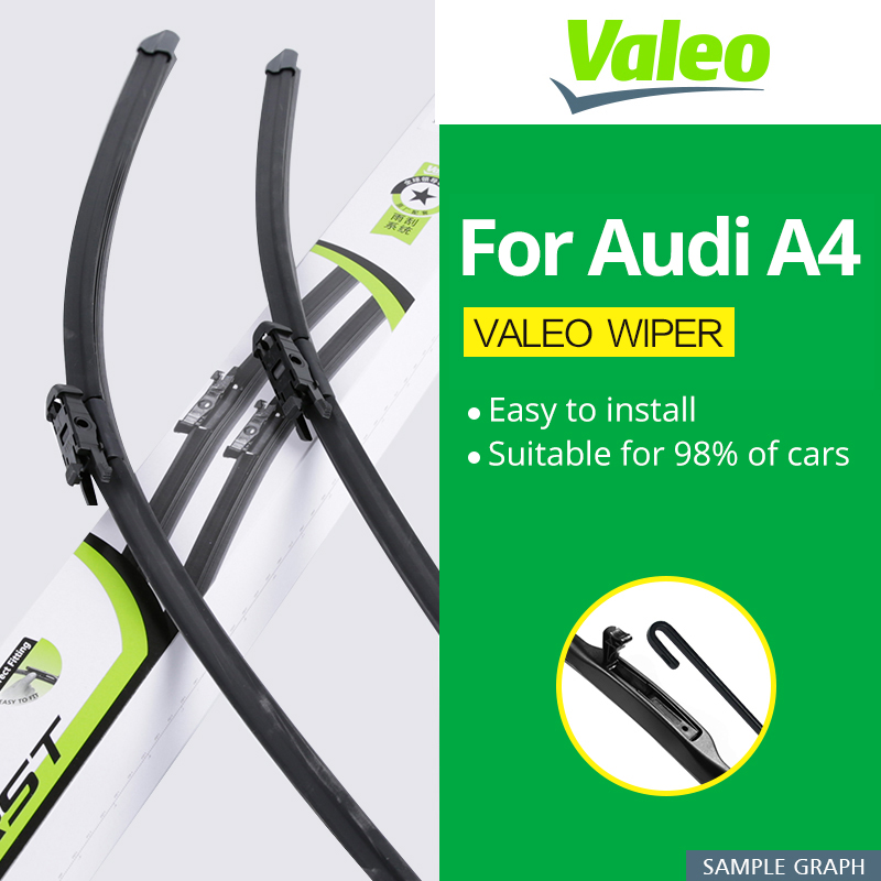 Valeo Wiper Blades for Audi A4 B5 / B6 / B7 / B8 / B9 Hook / Latch / Slider / Push Button Arms Model Year from 1995 to 2018 refresh wiper blades for renault dacia lodgy fit hook arms pinch tab arms 2012 2013 2014 2015 2016 2017 2018