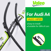 Valeo Wiper Blades for Audi A4 B5 / B6 / B7 / B8 / B9 Hook / Latch / Slider / Push Button Arms Model Year from 1995 to 2018