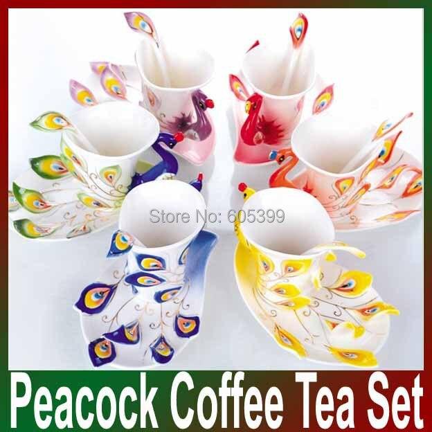 ᐂEnvío gratuito Super porcelana esmalte Tazas té de pavo real taza ...