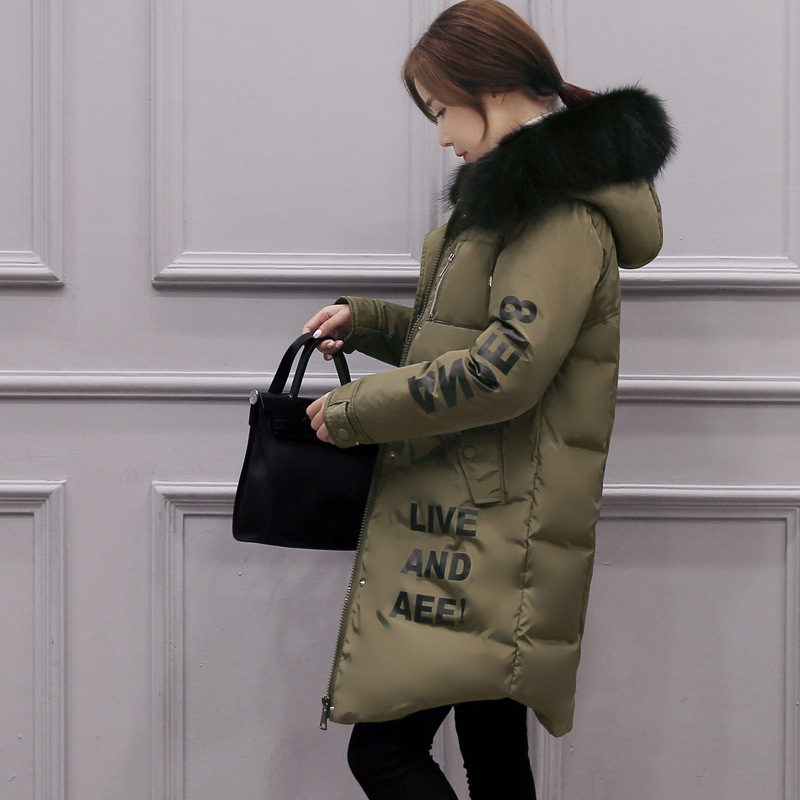 new 2017 winter warm down Cotton jacket Women Big Faux Fur collar Thick Slim hooded Letters Print Long down jacket Coat 2015 women winter warm long down parkas female slim down cotton jacket hooded faux fur collar ladies elegant thick coat h5310