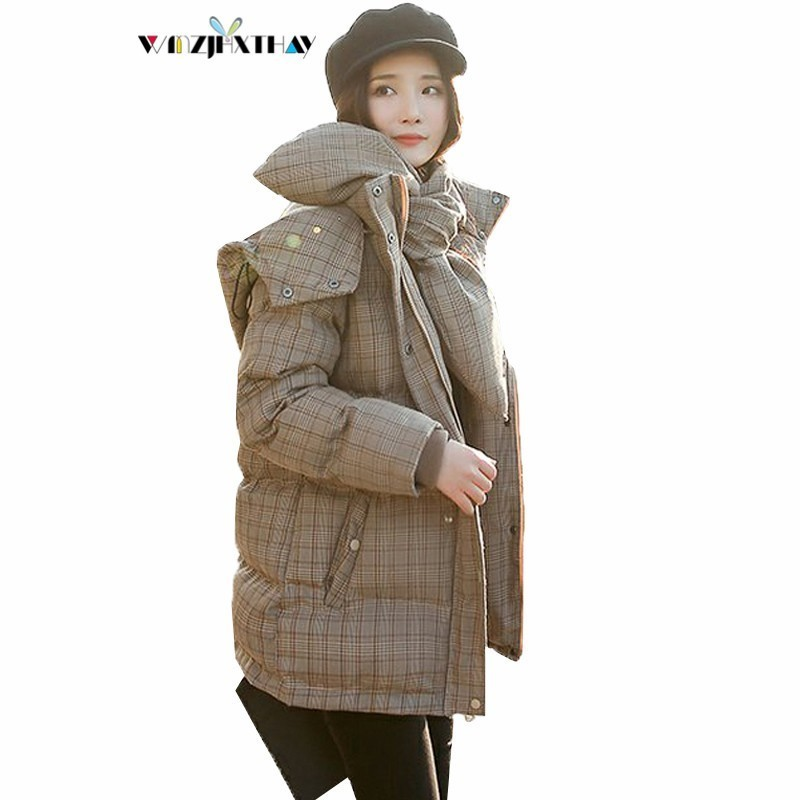Manteau Survêtement Épais Picture Color À Plaid Chaud Coton Mode 2018 Le Casual Bas Veste Df020 De Sauvage Capuchon Tempérament Bib Femelle D'hiver Vers 615H7q5
