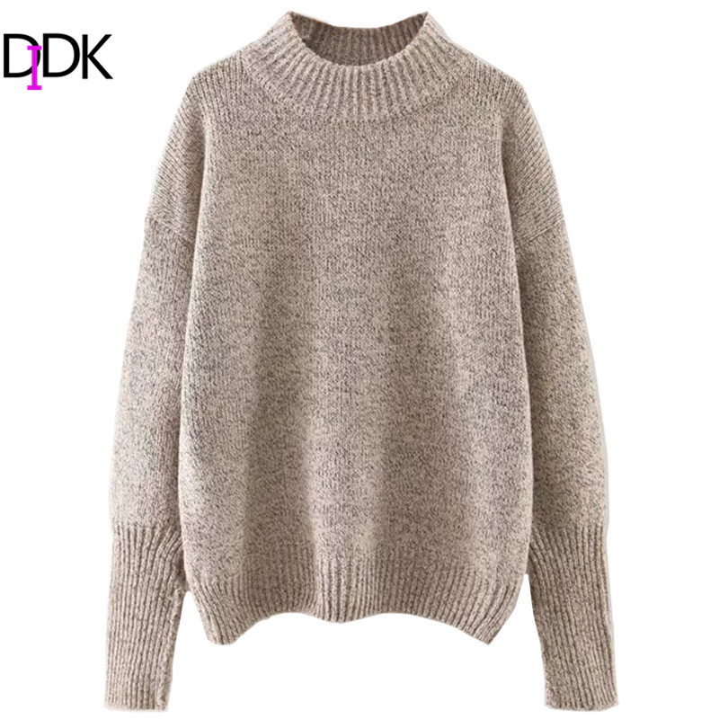 DIDK Ladies Crew Neck Ribbed Trim Drop Shoulder Sweaters For Autumn Womens Plain Long Sleeve Casual Loose Pullovers