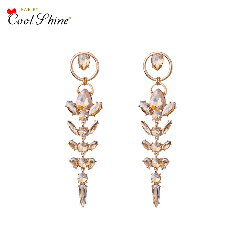 Coolshine Newest Zinc Alloy Fashion Tassel Spica Shape with Luxurious Crystal Drop Earrings for Women Hollow-out Trendy Jewelry