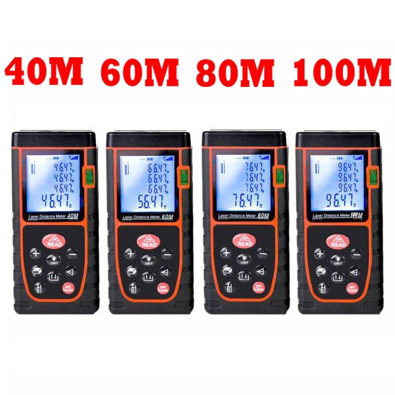 40M 60M 80M 100M Digital Laser distance Measurer meter Laser Range finder trena tape measure ruler Angle volume test  tools