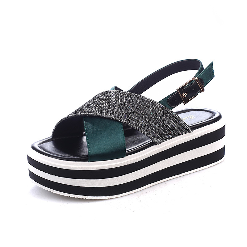 2019 summer thick-soled platform sandals womens wild buckle with casual Rome increased womens shoes2019 summer thick-soled platform sandals womens wild buckle with casual Rome increased womens shoes