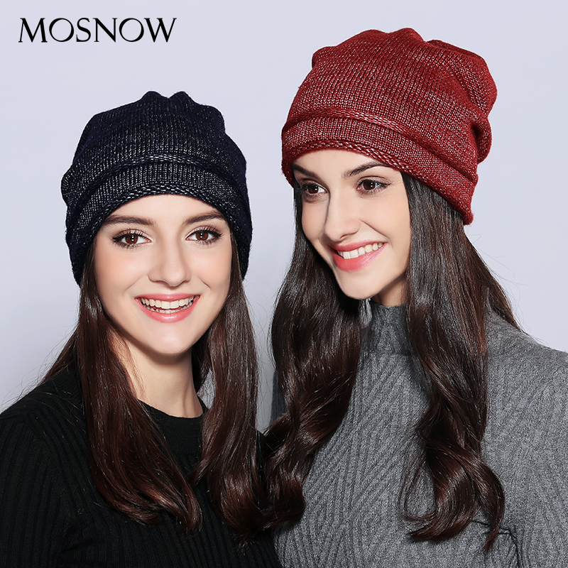 MOSNOW  Hats For Women Unique Design Wool Knitted 2017 Autumn Winter Brand New Shining Warm Hat Female Skullies Beanies  #MZ703 adult beanie skullies rabbit fur ball shining warm knitted hat autumn winter hats for women