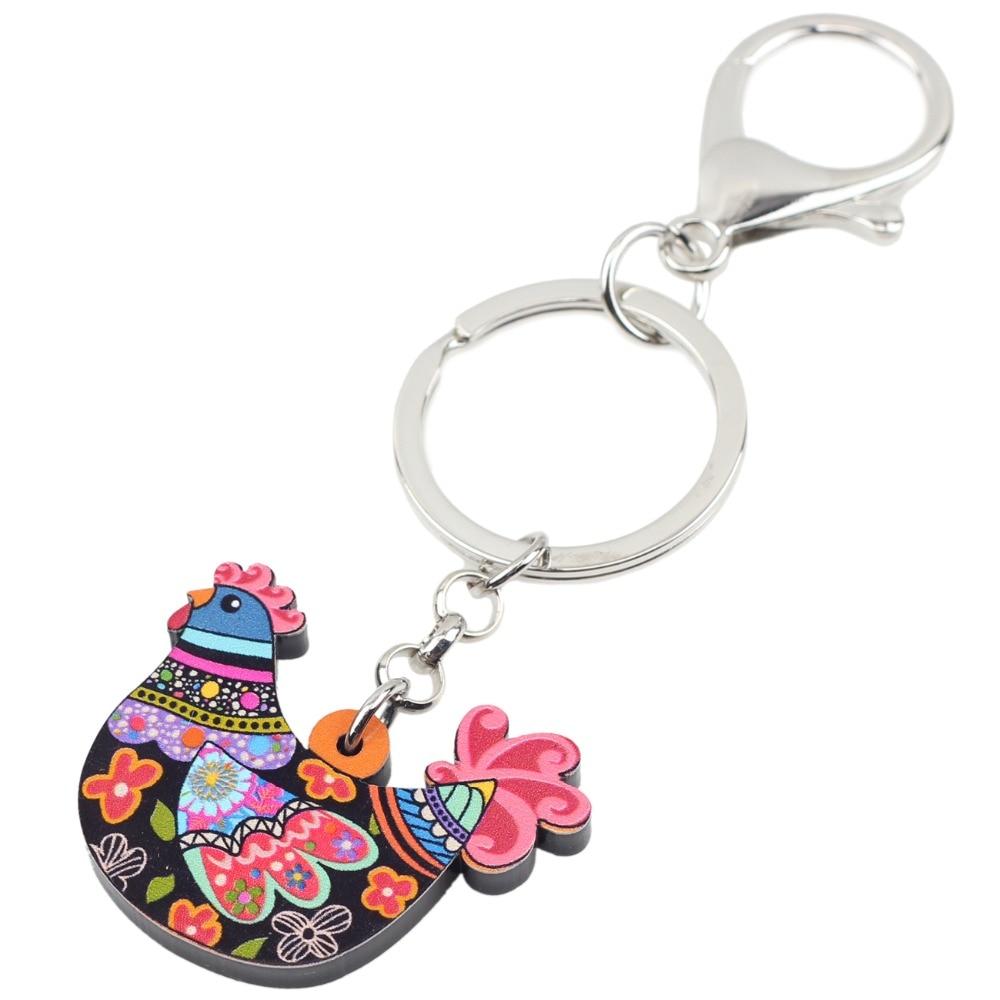 Bonsny Acrylic Anime Cartoon Chicken Hen Key Chains Keyrings For Women Girl  Bag Purse Car Ladies Pendant Farm Charms GIFT Bulk-in Key Chains from  Jewelry ... 3ec2e8ac47