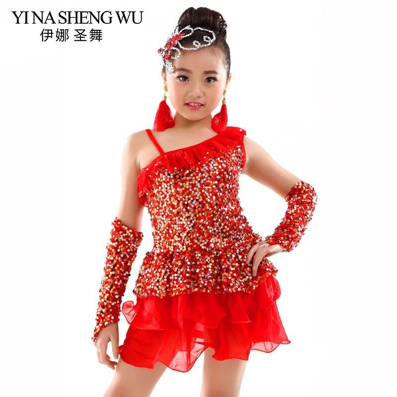 New Children's Latin Dance Costume Professional Latin Dance Performance Dress Girls Sequin Latin Dance Practice Skirt 3 Colors