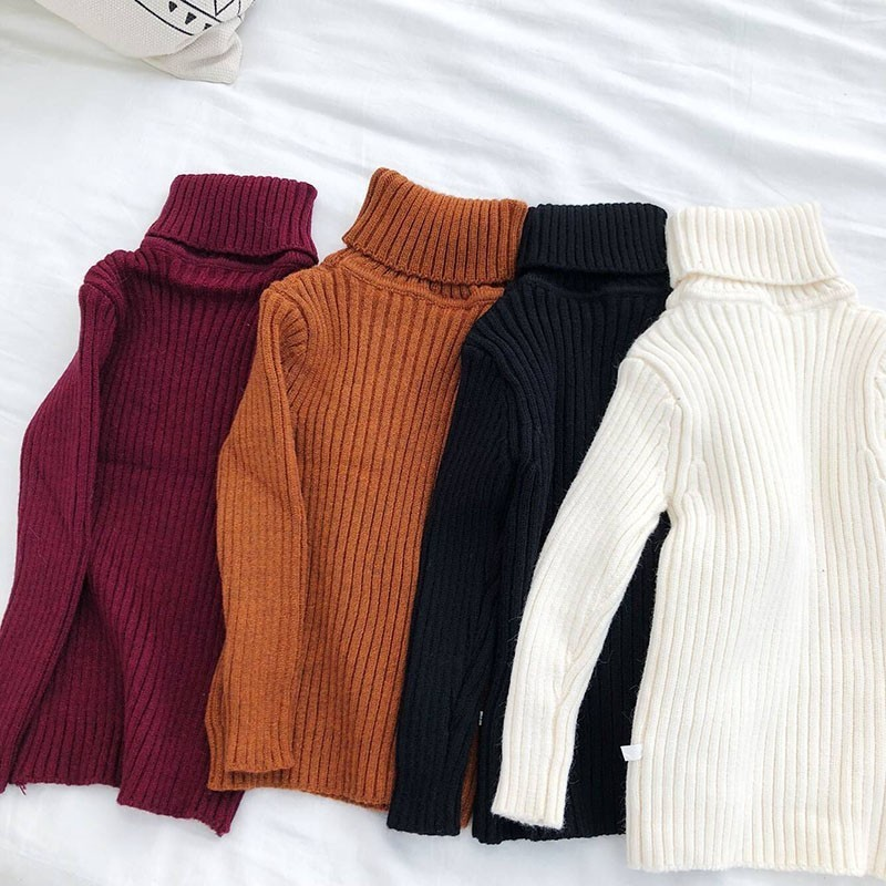 Christmas High Neck Children Sweaters Boys Knitted Sweater Autumn Winter Girls Pullover Knitted Coat Sweaters Toddler Clothes high neck button embellished knitted sweater
