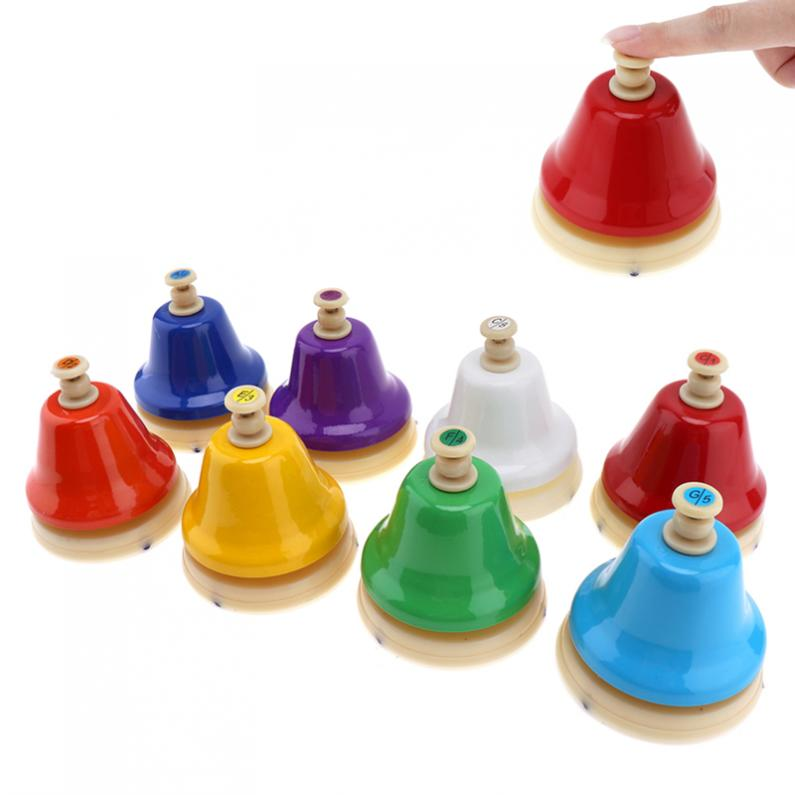 8 Note Colorful Hand Bell Set Musical Instrument Musical Toy for Children Baby Early Education цена