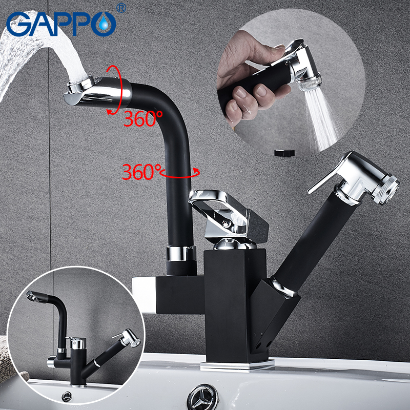 Gappo Kitchen Faucets Black Kitchen Water Sink Mixer Tap Kitchen Pull Out Water Mixer Taps Faucets
