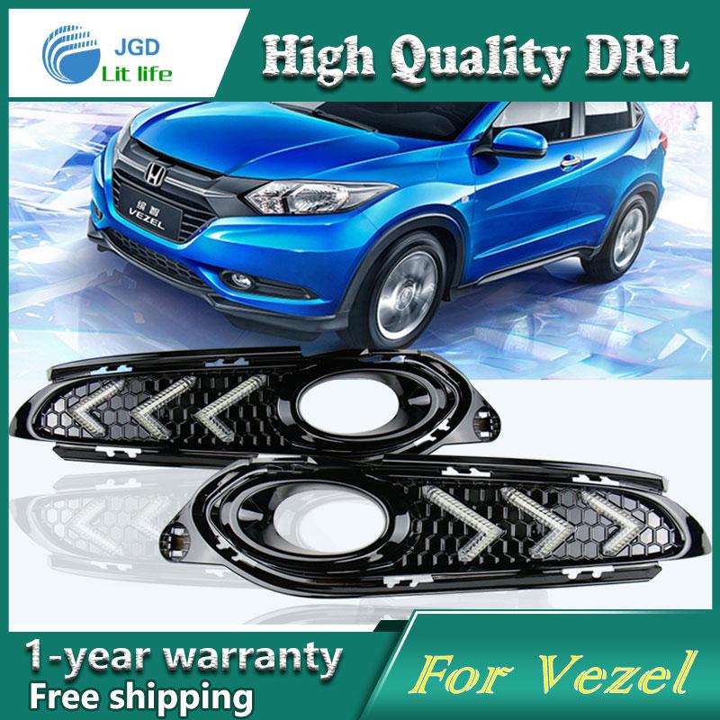 высокое качество дневного света Противотуманные фары высокое качество СИД DRL для Honda vezel низкое ВРВ ВР-в противотуманная фара 12 В 6000 к 2 шт./компл.