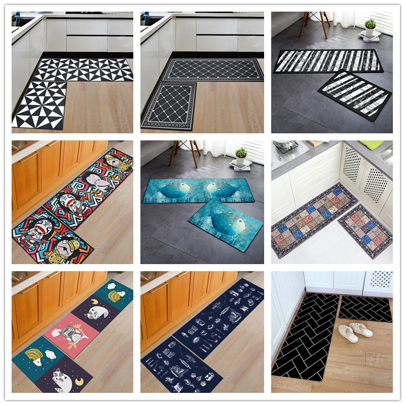 Fine Us 8 66 15 Off Yazi Flannel Black And White Geometric Kitchen Floor Mats Door Mat Washable Soft Non Slip Long Carpet Corridor Rug Utility Mats In Interior Design Ideas Pimpapslepicentreinfo