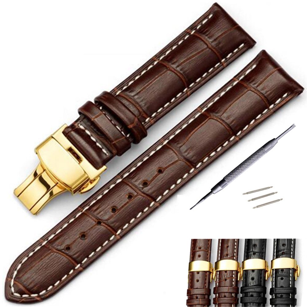 Genuine Leather watch band 16 18 19 20 21 22 24 mm Watche Band strap Belt Watchband Gold Folding Clasp / Buckle + Tool