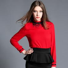 2017 wiosna kobiety moda szyfonowa bluzki stań Collar koraliki czerwony czarne koszule wysokiej klasy kobiety szyfonowa koszula z koraliki tanie tanio Poliester REGULAR Na co dzień Pełna Frezowanie Stałe Stojak CY001 red black