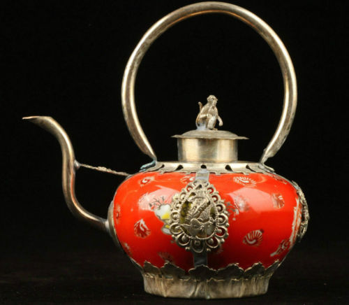 Rare Collection Old Decorated Porcelain Tibet Silver Monkey Teapot