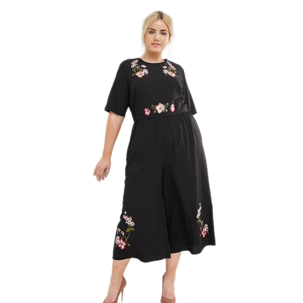 Plus Size Floral Embroidery Boot Cut Jumpsuits Women Back Hollow Out Pants Oversize Bohemian Backless Jumpsuits 6XL 7XL