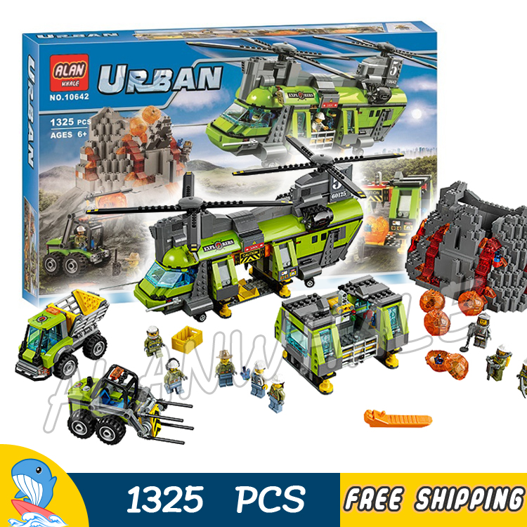 1325pcs City Volcano Heavy lift Helicopter Model Building Blocks 10642 Police Assemble Brick Children Toys Compatible With Lego цена 2017