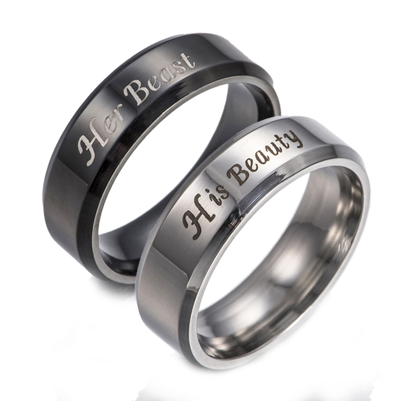 1 PCS Her Beast His Beauty Ring Couple Rings Wedding Jewelry For Lovers Engagement Promise