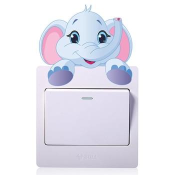 Cute Animals Elephant Cat Panda Giraffe Light Switch Sticker Removable Wall for Kids Baby Nursery Home Decal Mural Decor 2