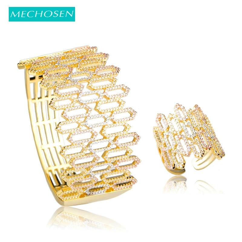 Ensemble de bague de luxe en Zircon cubique de luxe avec Bracelet et Bracelet en Zircon multi-tons et Bracelet large pour femmes, ensemble de bijoux de mariage pour mariée