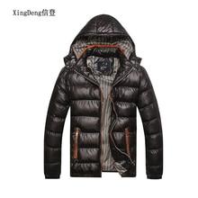 XingDeng Winter fashion warm Jackets Men Hat Detachable top Coat Cotton Outwear