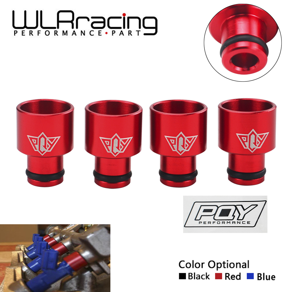 WLR RACING - 4pcs Racing PQY Fuel Injector Top Hats Adapters For RDX Injectors B16 B18 D16Z D16Y WITH PQY STICKER WLR-FIA01