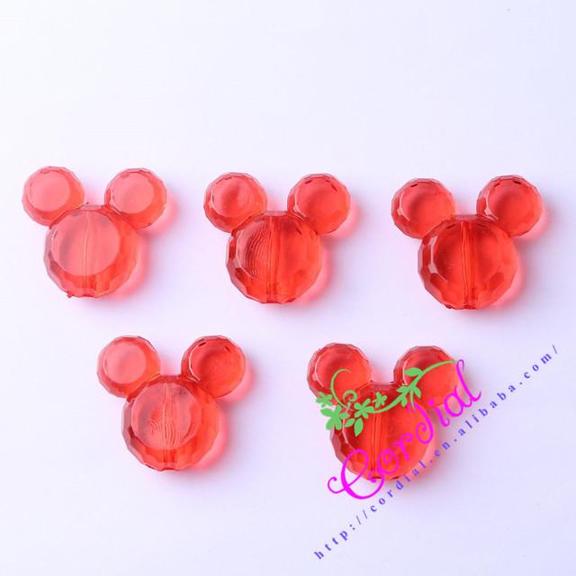 O Envio gratuito de 50 pçs/lote 34*37mm Red Cor Chunky Acrílico Contas Do Mouse Para Férias Jóias CDWB-517119