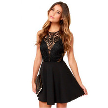 summer lace hollow out patchwork new dresses mamaan style empire a-line sleeveless o-neck female mini
